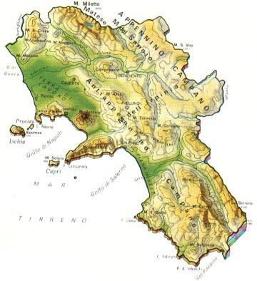 Cartina Fisica Italia Valichi.Campania Mappa Rilievi Valichi Coste Isole Paesaggio Fiumi Laghi