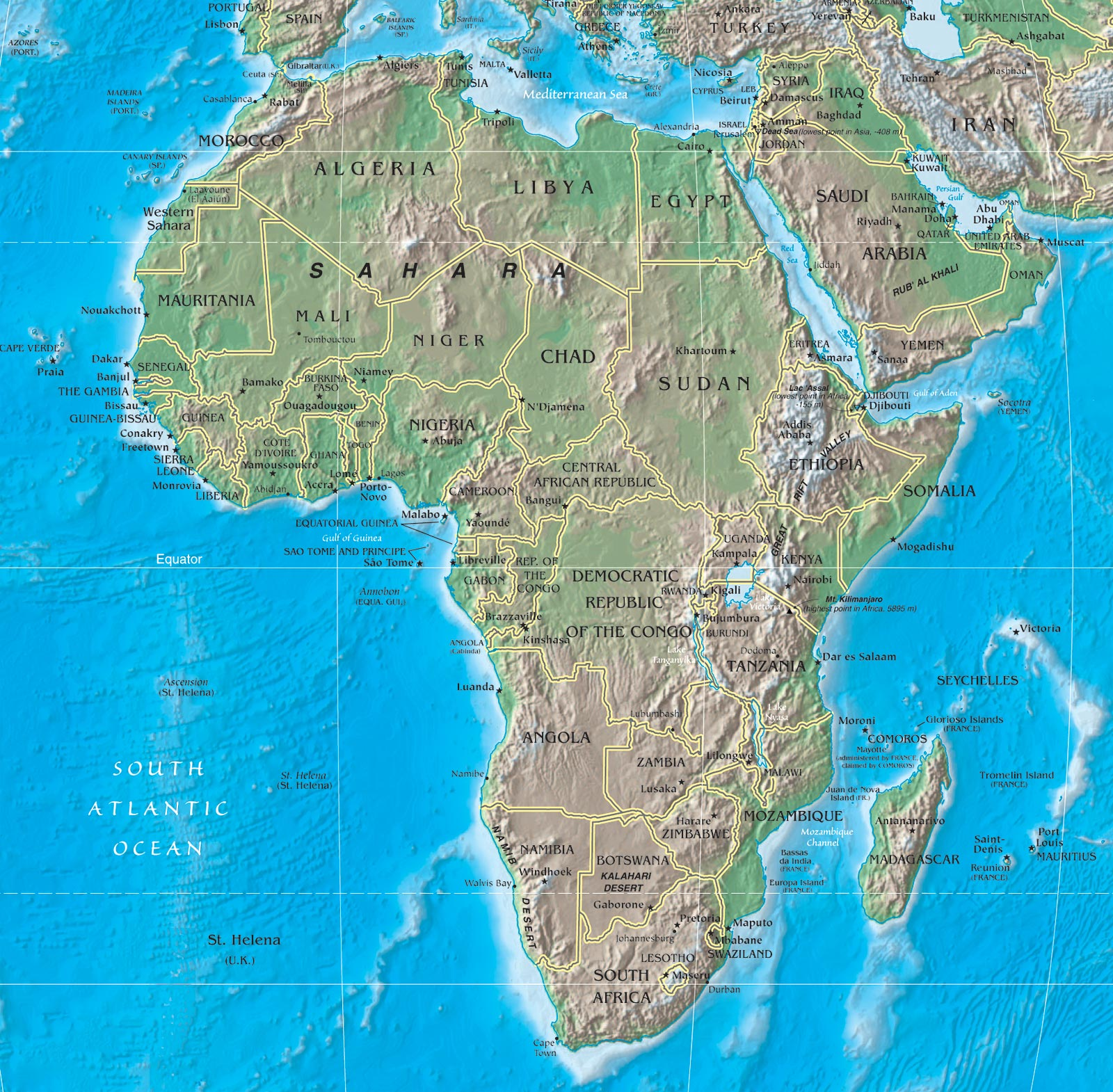 Cartina Fisica Dell Africa Mediterranea.Africa Mappa Geografia Caratteristiche Fisiche Flora Fauna Africana