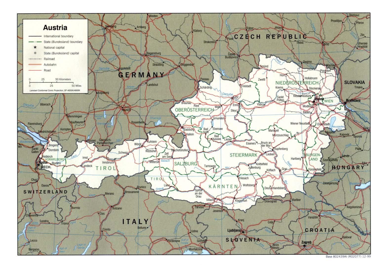 Cartina Fisica Muta Germania.Austria Carta Geografica Mappa Austriaca