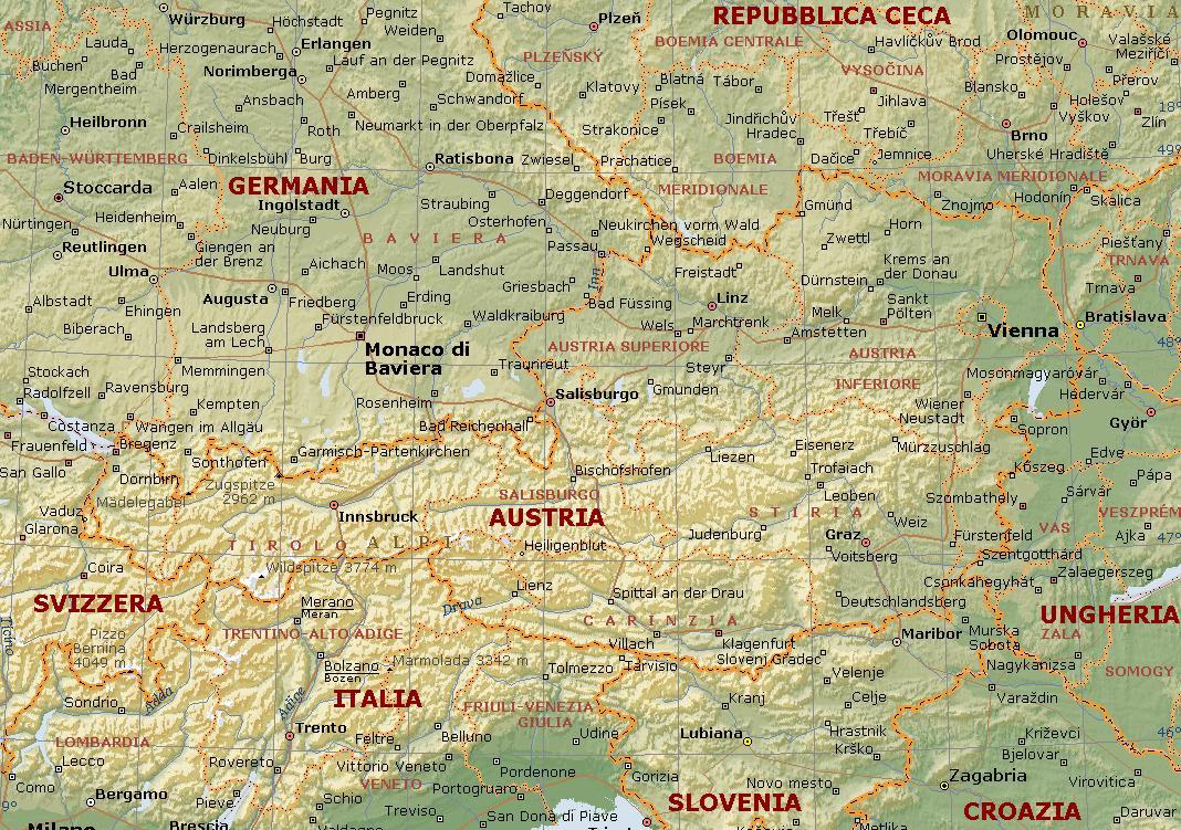 Carta Fisica. Austria Fisica