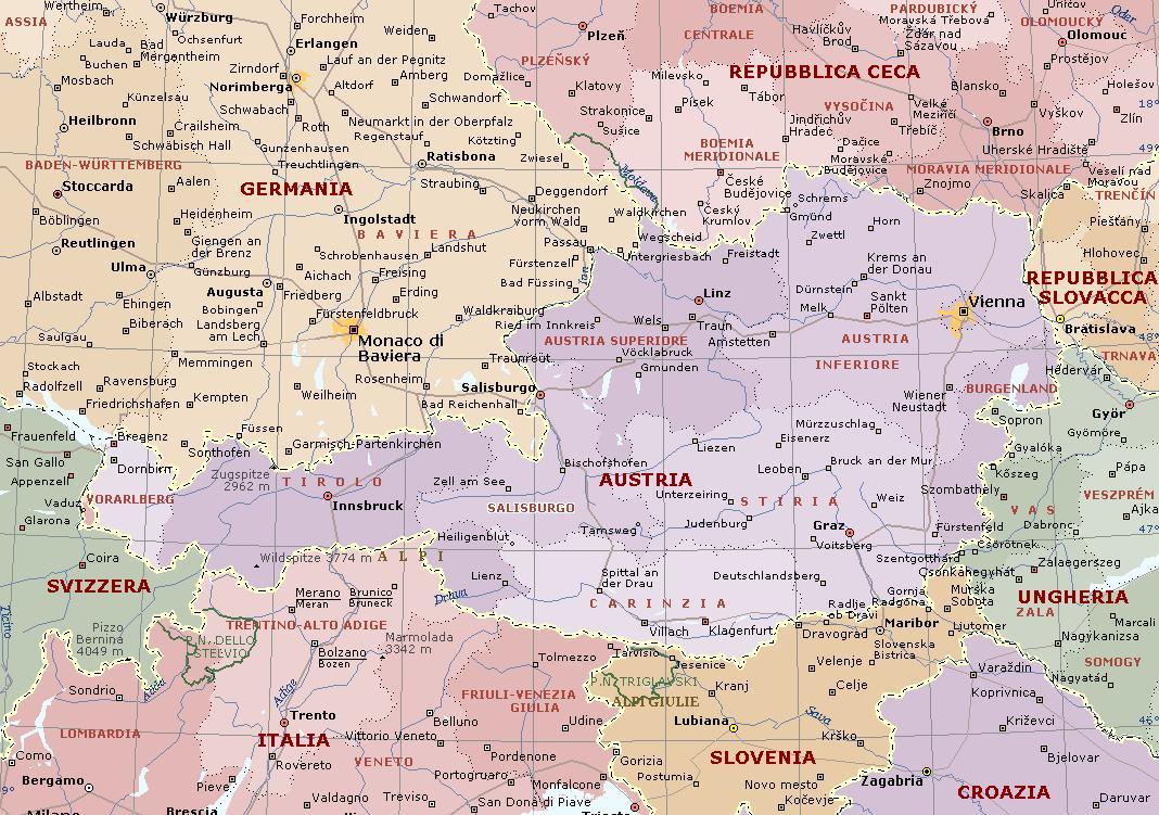 Trentino Alto Adige Cartina Fisica E Politica.Austria Carta Geografica Mappa Austriaca