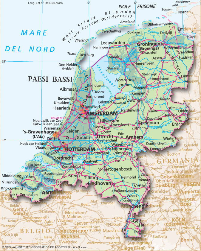 Cartina Belgio Politica.Paesi Bassi Carta Stradale