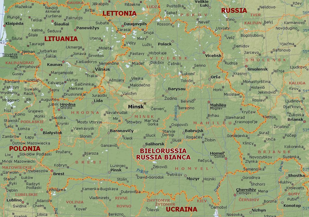Cartina Russia Da Stampare.Bielorussia Carta Geografica Mappa Russa