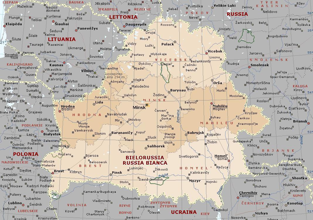 Cartina Fisica E Politica Della Russia.Bielorussia Carta Geografica Mappa Russa