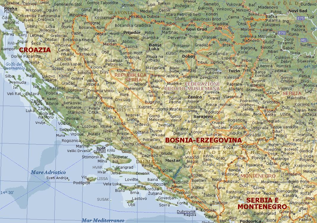 Bosnia erzegovina carta geografica mappa della bosnia erzegovina carta fisica altavistaventures Images