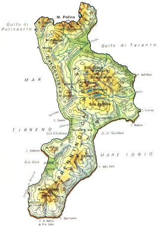 Cartina Calabria Geografica.Calabria Carta Geografica Cartina Stradale Della Calabria