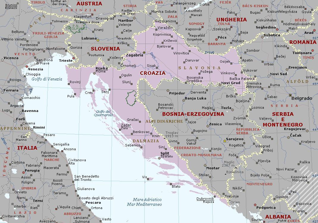 Croazia E Slovenia Cartina Geografica.Croazia Carta Geografica Mappa Della Croazia