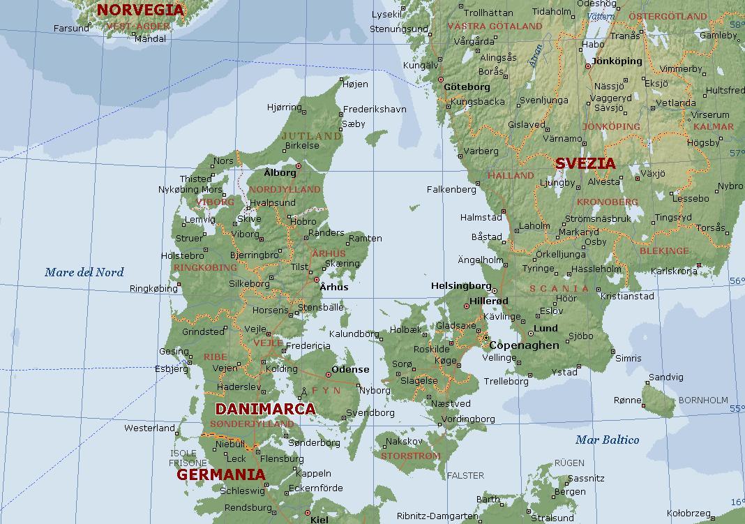 Cartina Norvegia Da Stampare.Danimarca Carta Geografica Mappa Della Danese