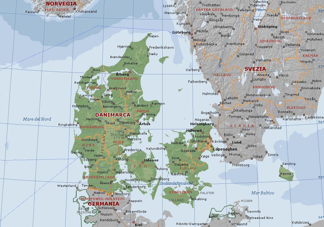 Danimarca Carta Geografica Mappa Della Danese