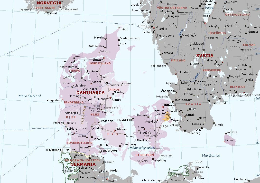 Cartina Della Danimarca.Danimarca Carta Geografica Mappa Della Danese