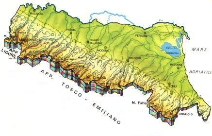 Cartina Della Emilia Romagna.Emilia Romagna Mappa Rilievi Valichi Coste Isole Paesaggio