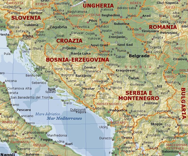 Cartina Jugoslavia.Iugoslavia Carta Geografica Mappa Ex Iugoslava