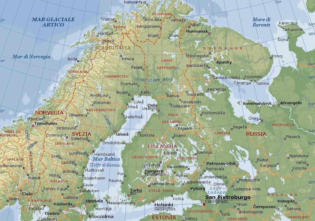 Cartina Geografica Norvegia Fisica.Finlandia Carta Geografica Mappa Finlandese