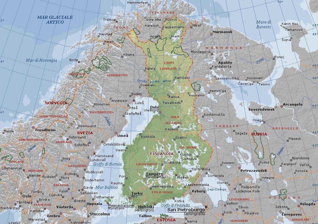 Cartina Geografica Politica Della Basilicata.Finlandia Carta Geografica Mappa Finlandese
