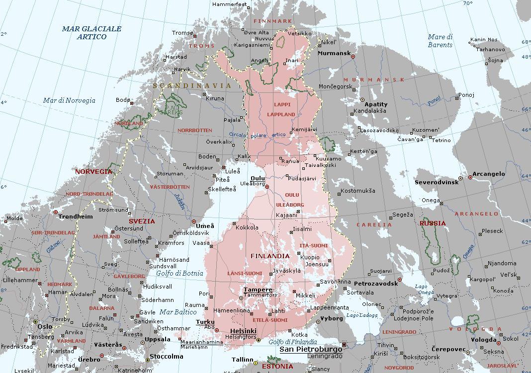Cartina Muta Norvegia.Finlandia Carta Geografica Mappa Finlandese