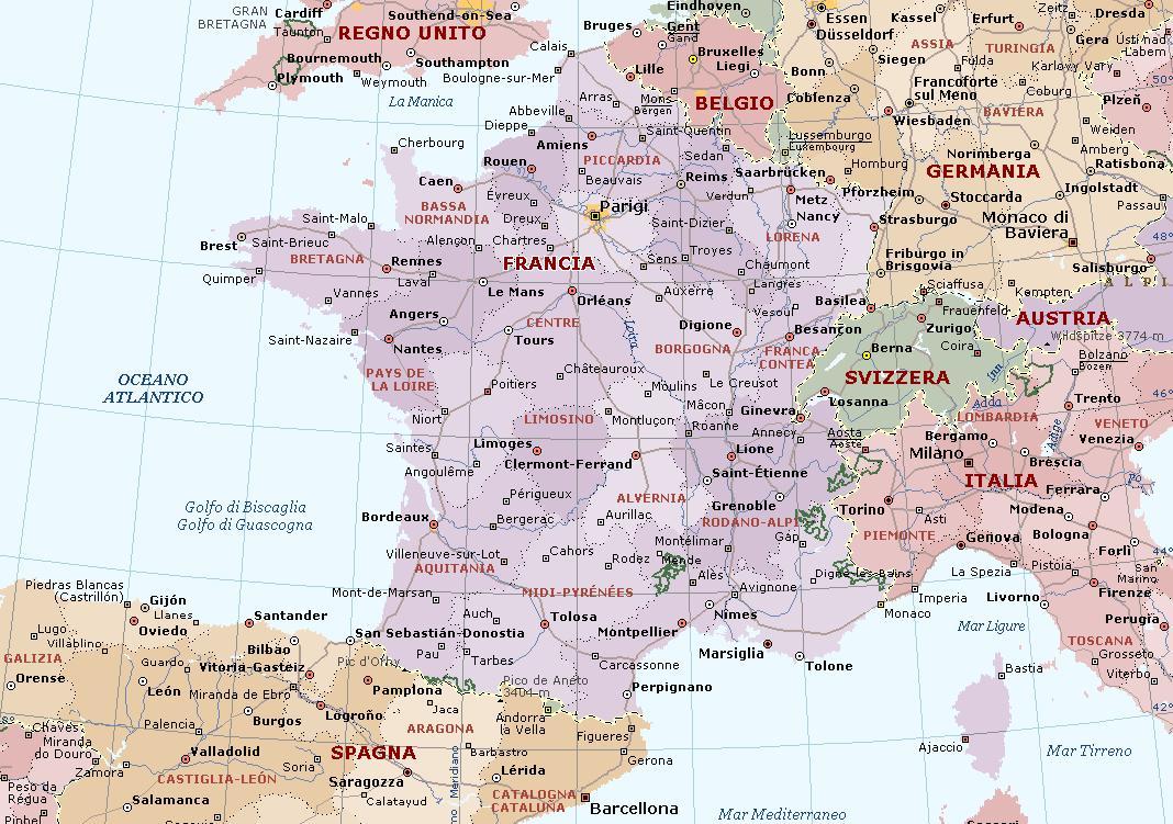 Cartina Italia Francia E Spagna.Francia Carta Geografica Mappa Francese