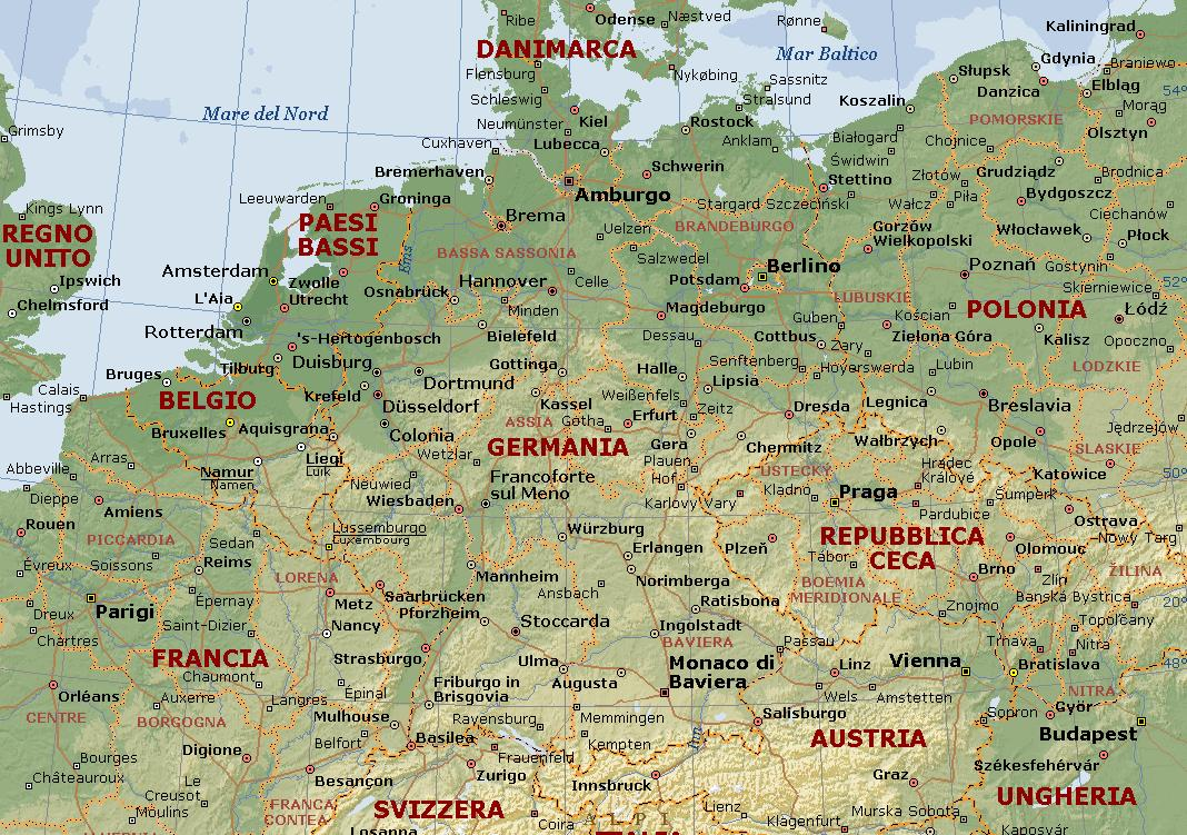 Cartina Nord Germania.Germania Carta Geografica Mappa Della Germania