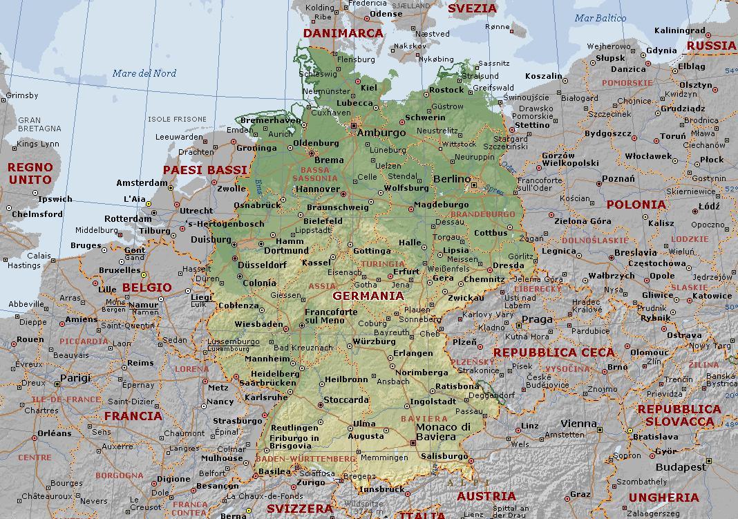 Olanda Cartina Fisica E Politica.Germania Carta Geografica Mappa Della Germania