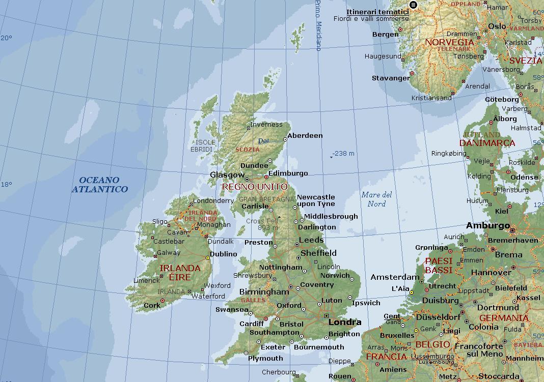 Cartina Geografica Fisica Della Gran Bretagna.Gran Bretagna O Regno Unito Carta Geografica Mappa Della Gran Bretagna O Del Regno Unito