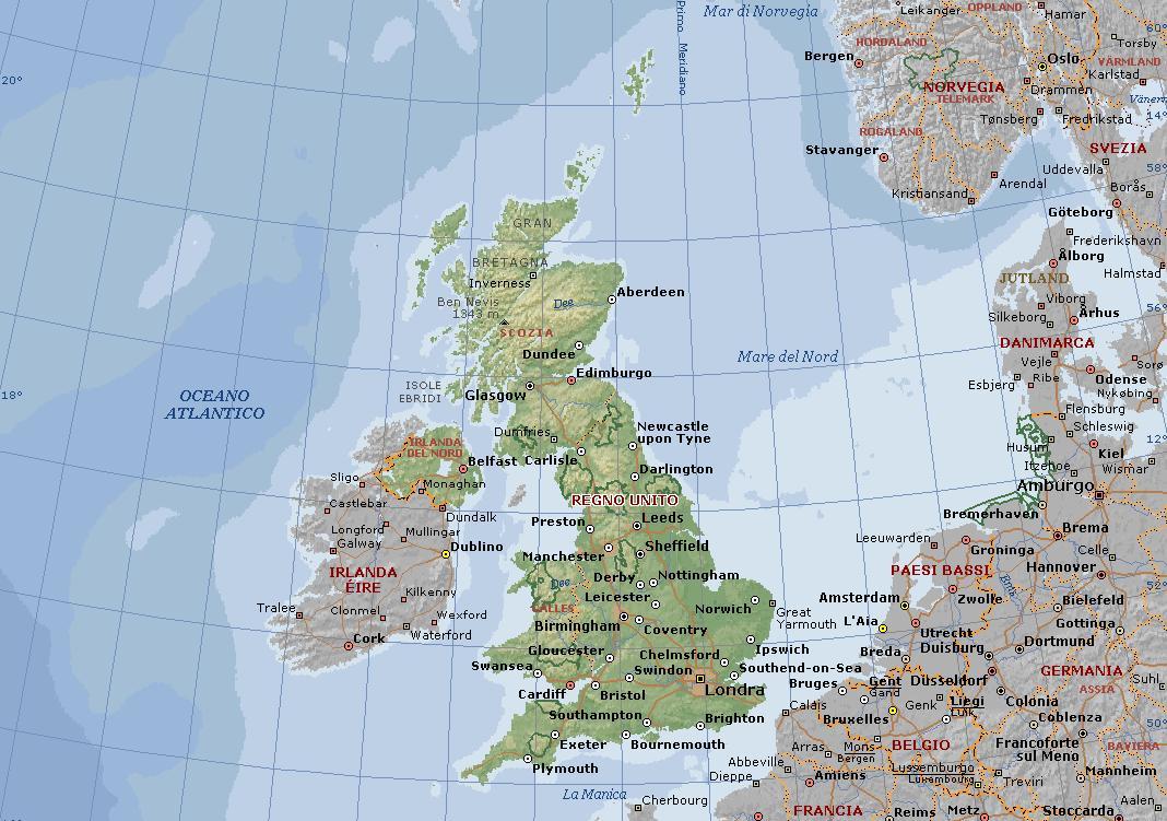 Gran Bretagna O Regno Unito Carta Geografica Mappa Della