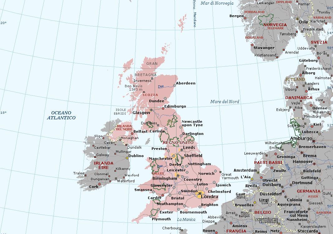Cartina Aeroporti Inghilterra.Gran Bretagna O Regno Unito Carta Geografica Mappa Della Gran