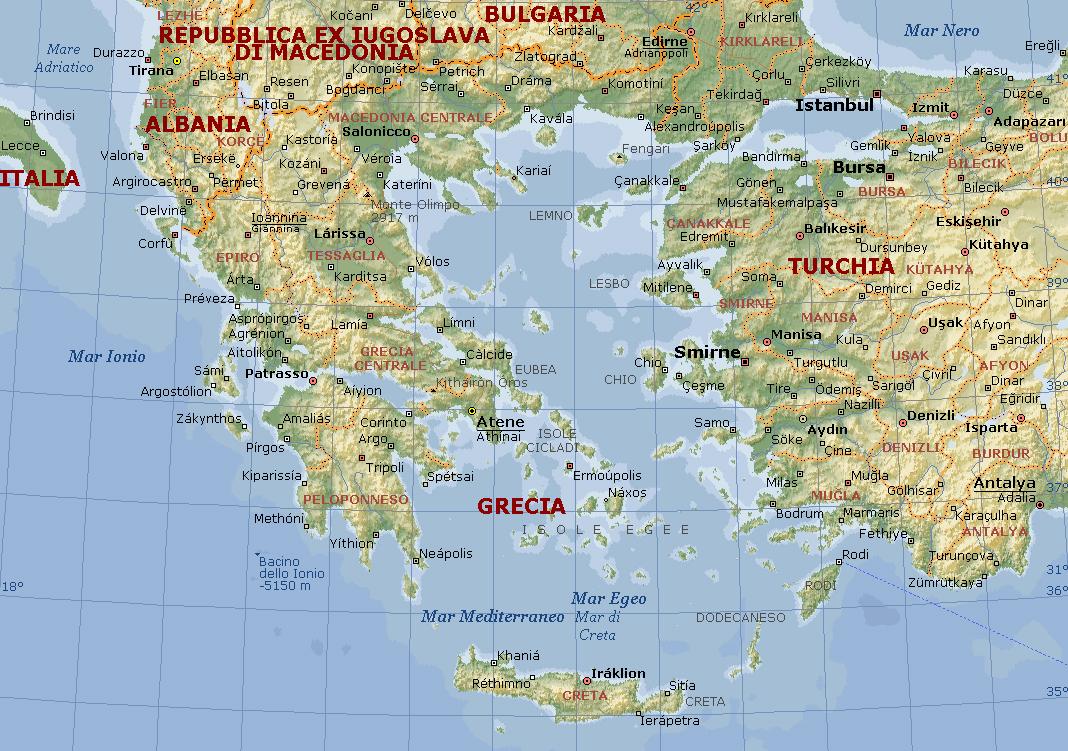 Cartina Della Grecia Politica.Grecia Carta Geografica Mappa Greca