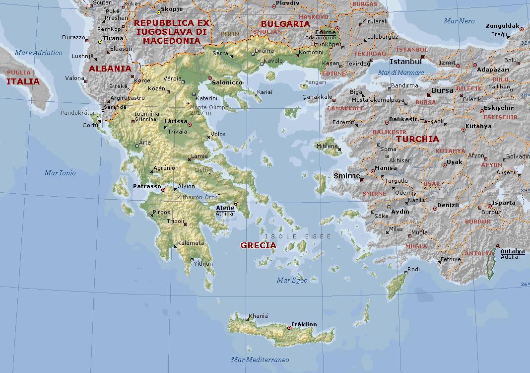 Cartina Sicilia Fisico Politica.Grecia Carta Geografica Mappa Greca