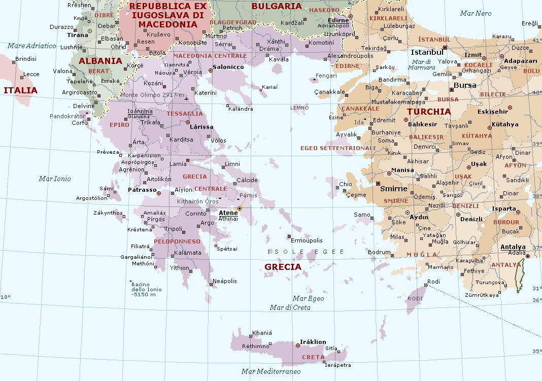 Cartina Puglia Grecia.Grecia Carta Geografica Mappa Greca