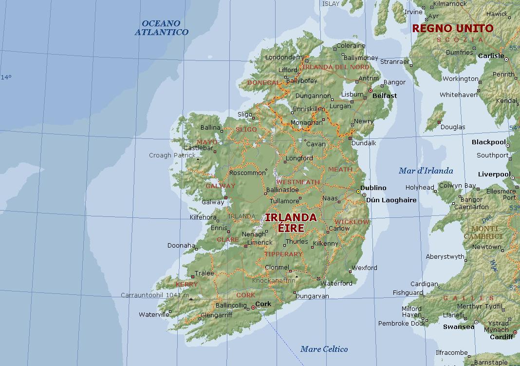 Cartina Geografica Irlanda Del Sud.Irlanda Carta Geografica Mappa Irlandese