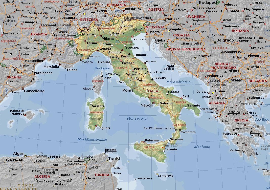 Cartina Politica Italia E Confini.Italia Carta Geografica Mappa Della Italia