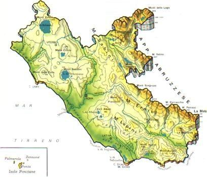 Cartina Fiumi Toscana.Lazio Mappa Rilievi Valichi Coste Isole Paesaggio Fiumi Laghi Laziali