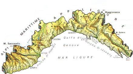 Cartina Geografica Riviera Ligure Di Ponente.Liguria Mappa Rilievi Valichi Coste Isole Paesaggio Fiumi Laghi