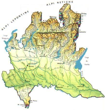 Cartina Geografica Lombardia Dettagliata.Lombardia Mappa Rilievi Valichi Coste Isole Paesaggio Fiumi Laghi