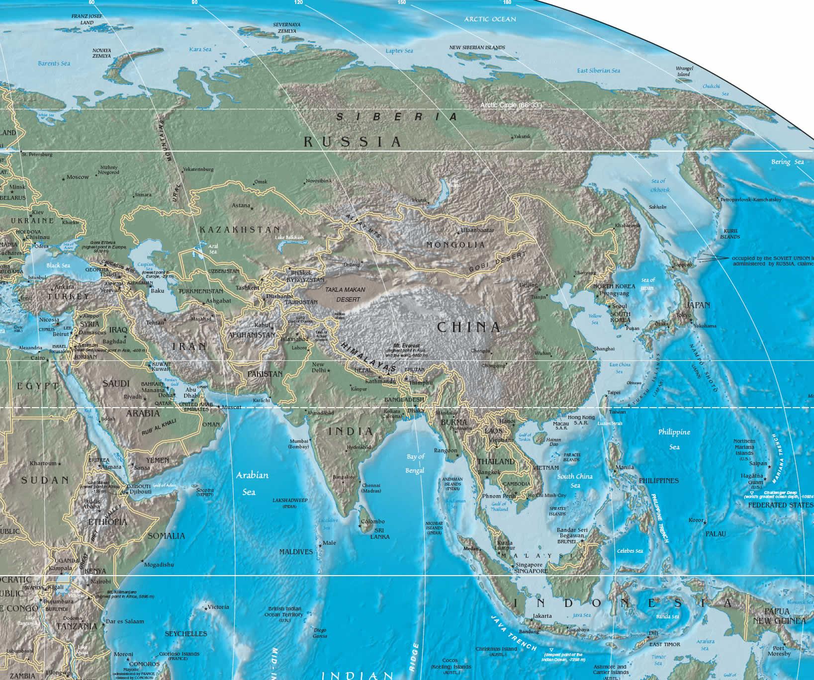 Cartina Dell Asia Orientale.L Asia Geografia Fisica