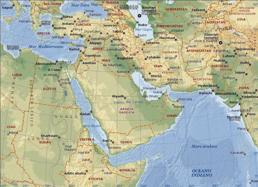 Mappa medio oriente fisica