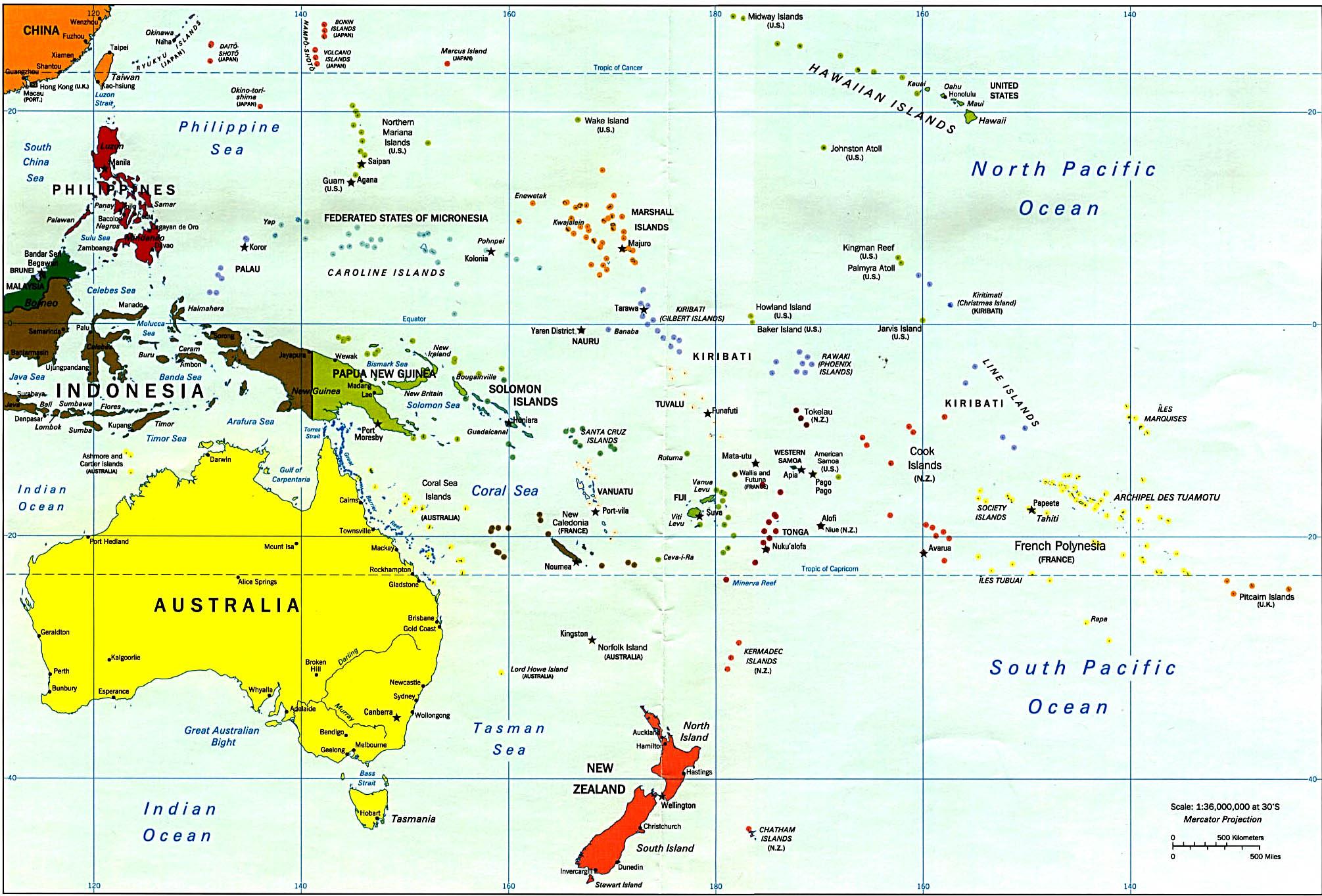 Mappa oceania politica