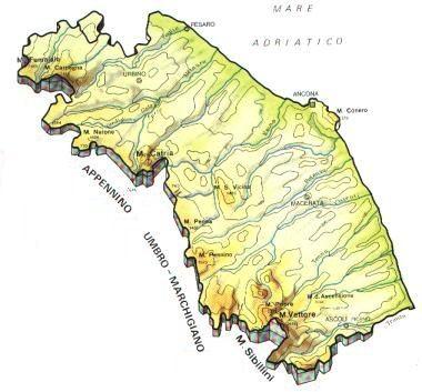 Cartina Litorale Marche.Marche Mappa Rilievi Valichi Coste Isole Paesaggio Fiumi Laghi Marchigiane