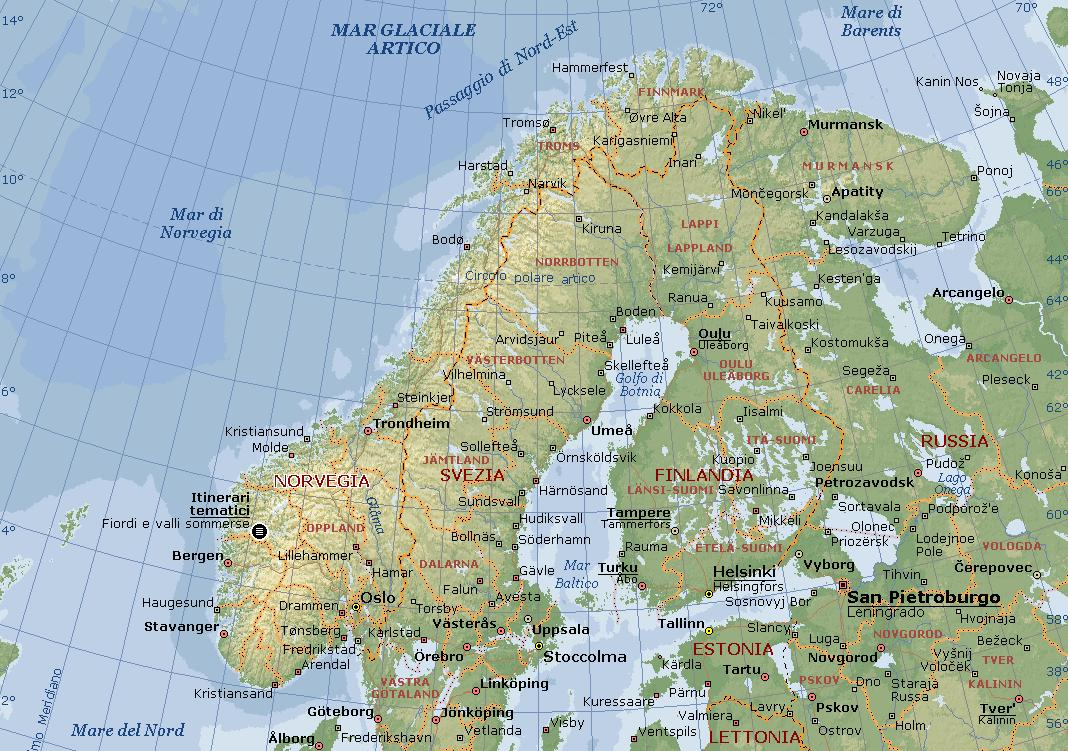 Cartina Norvegia Stradale.Norvegia Carta Geografica Mappa Norvegese