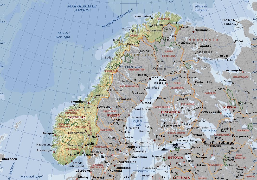 Cartina Fisica Della Norvegia.Norvegia Carta Geografica Mappa Norvegese