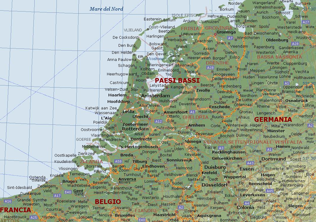 Olanda Cartina Fisica E Politica.Olanda O Paesi Bassi Carta Geografica Mappa Olandese O Dei Paesi Bassi