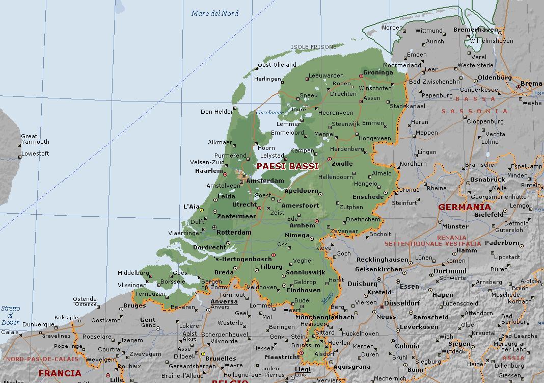 cartina geografica olanda e paesi bassi
