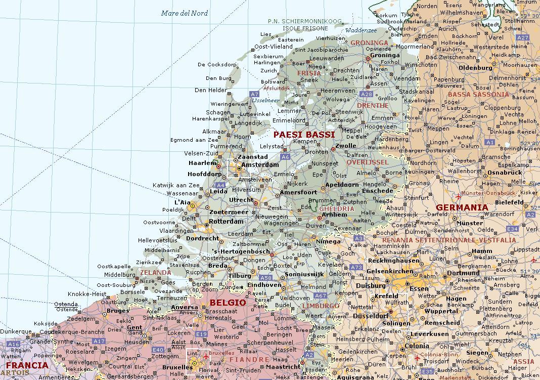 Cartina Olanda Fisica.Olanda O Paesi Bassi Carta Geografica Mappa Olandese O Dei Paesi Bassi
