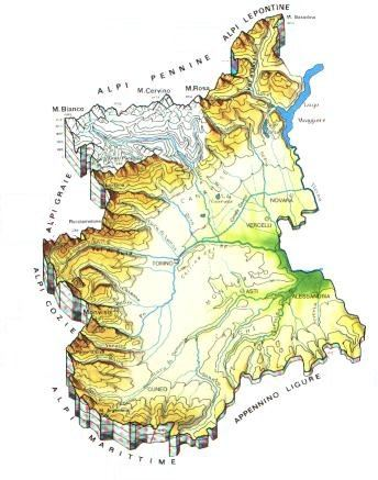 Cartina Muta Piemonte.Piemonte Mappa Rilievi Valichi Coste Isole Paesaggio Fiumi