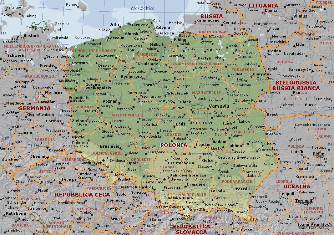 Cartina Fisica Germania In Italiano.Polonia Carta Geografica Mappa Polacca