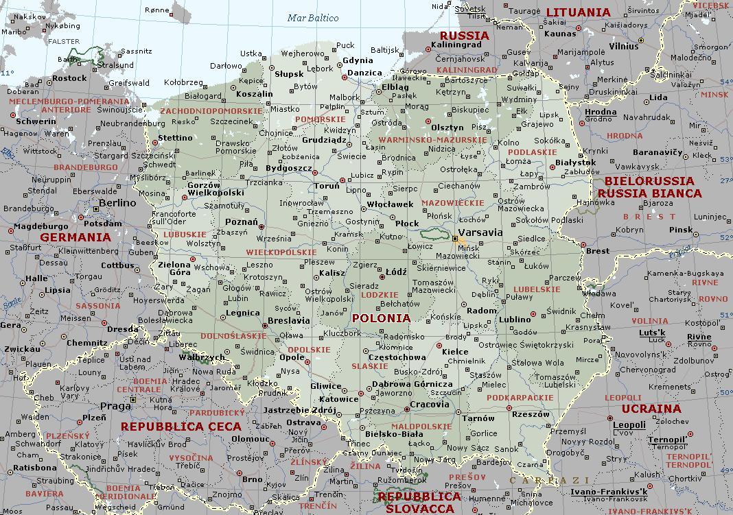Cartina Dettagliata Romania.Polonia Carta Geografica Mappa Polacca