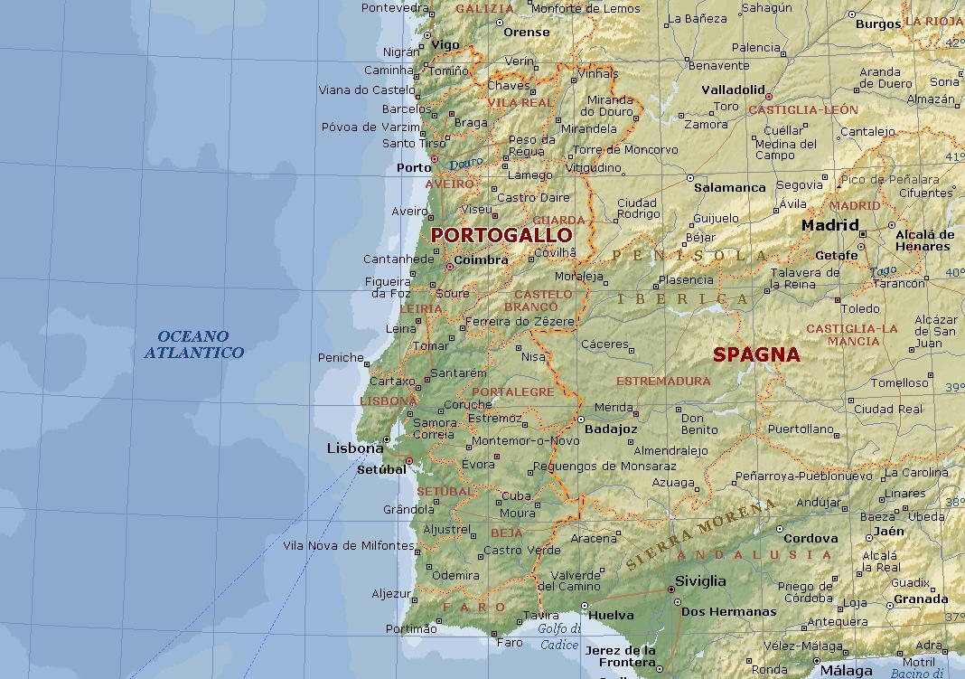 Cartina Portogallo Dettagliata.Cartina Fisica Muta Portogallo