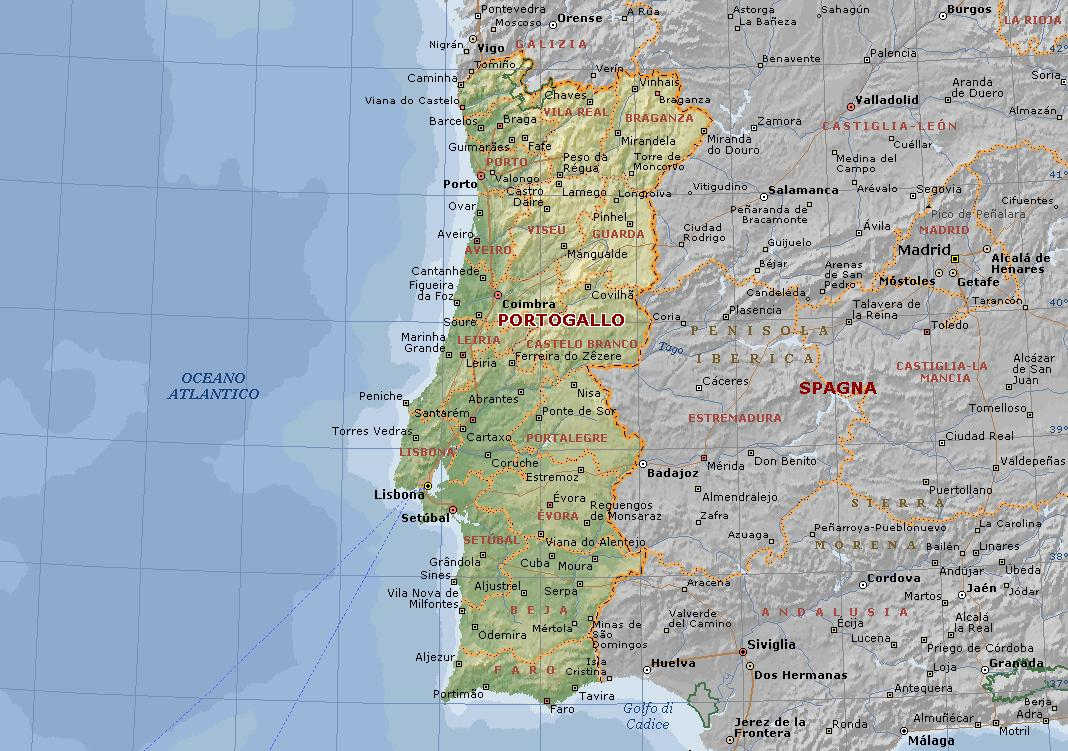 Cartina Fisica E Politica Del Portogallo.Portogallo Carta Geografica Mappa Portoghese