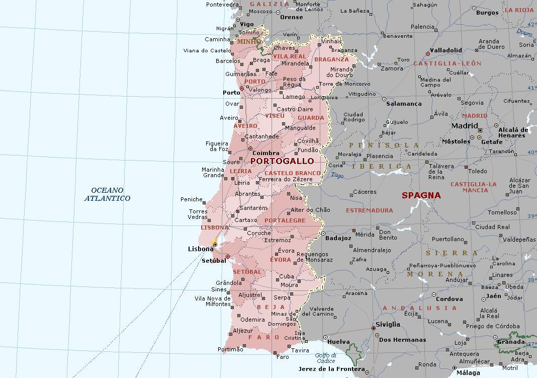 Cartina Portogallo Dettagliata.Portogallo Carta Geografica Mappa Portoghese