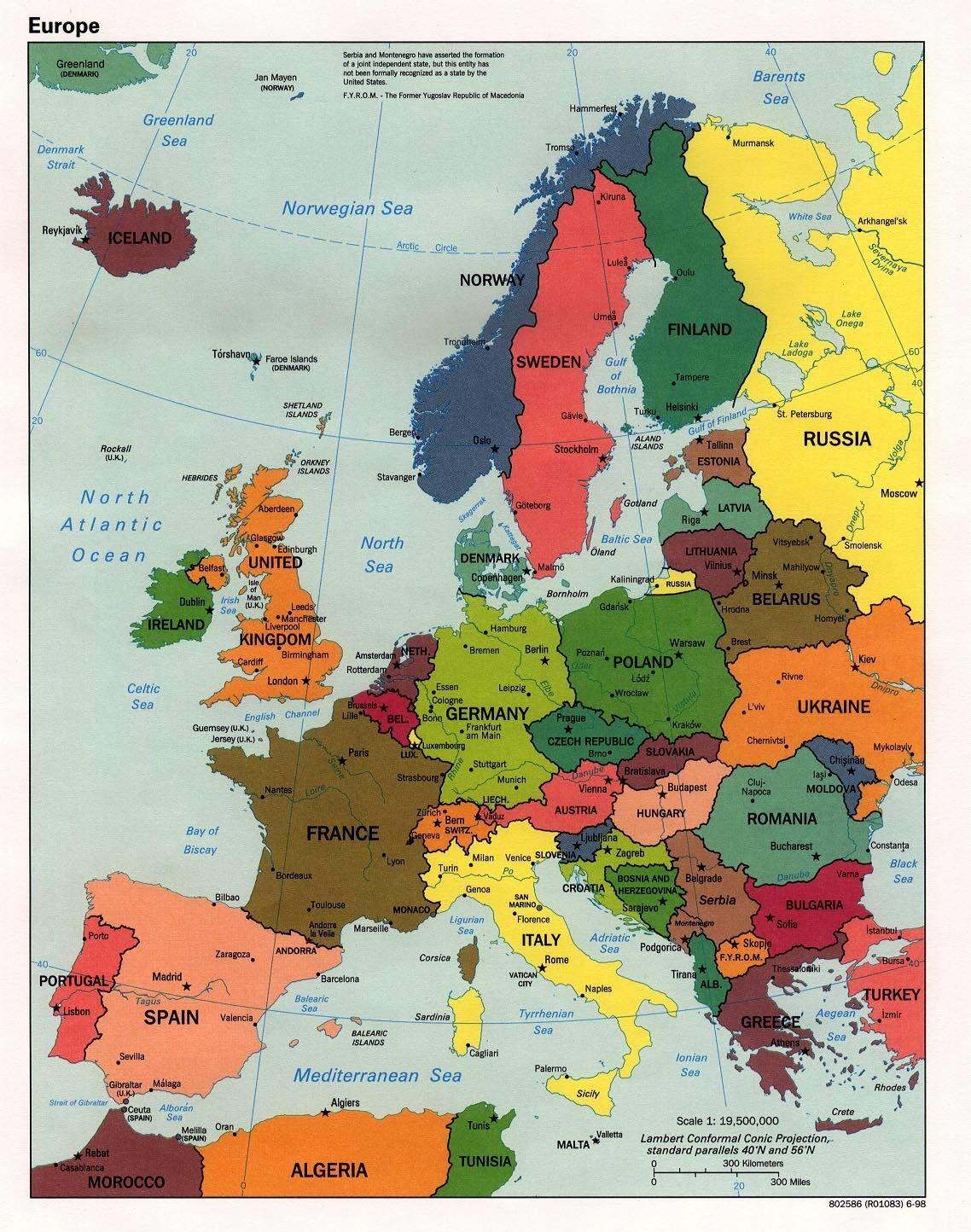 Cartina Con Capitali Europa.Europa Mappa Stati Reggioni Europa