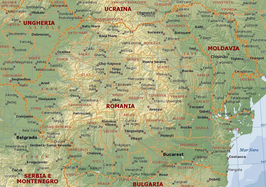 Romania Cartina Stradale.Romania Carta Geografica Mappa Della Romania